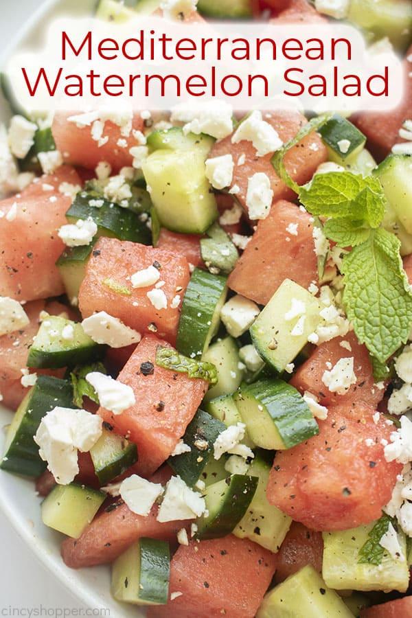 Text on image Mediterranean Watermelon Salad