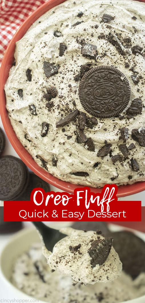 Long pin with text Oreo Fluff Quick & Easy Dessert