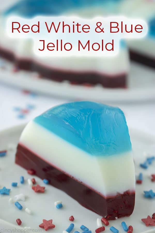 Text on image Red White & Blue Jello Mold