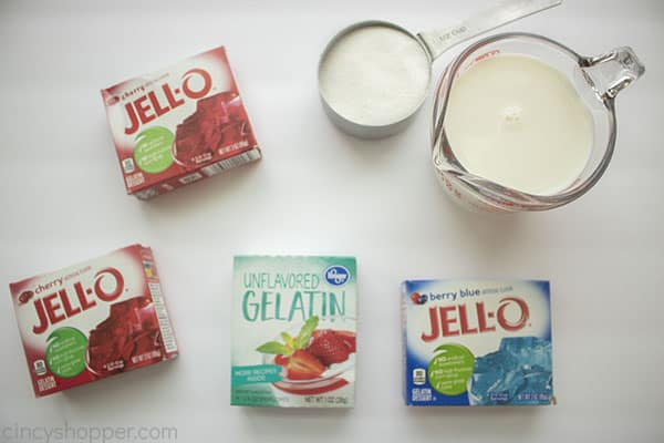Red white and Blue Jello Ingredients