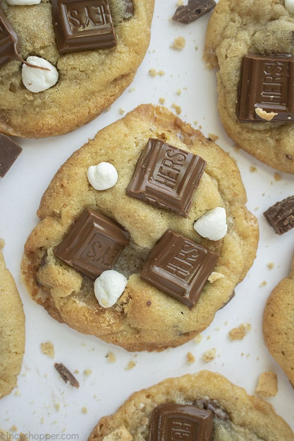 S'mores Cookies with marshmallows and chocolate