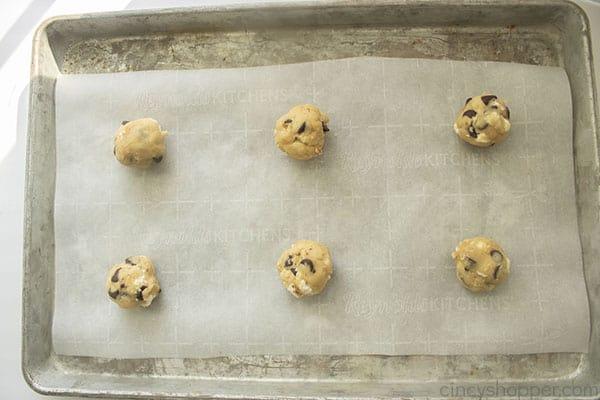 S'mores Cookie dough on parchment paper