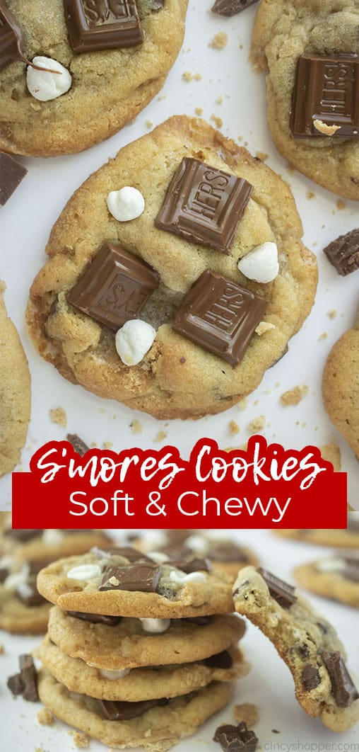 Long pin with text S'mores Cookies Soft & Chewy