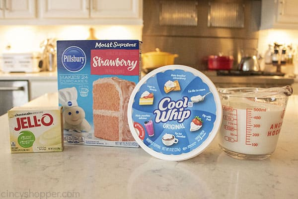 Ingredients for Strawberry poke cake
