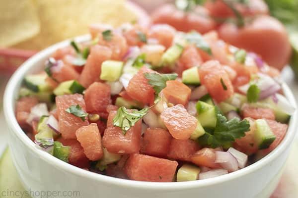 Chunky watermelon salsa in a bowl