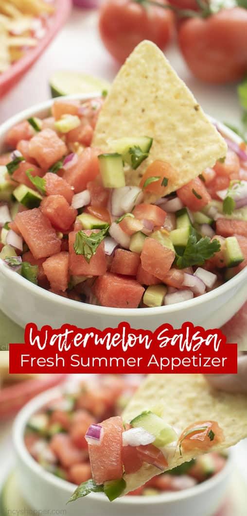 Long pin with text Watermelon Salsa Fresh Summer Appetizer
