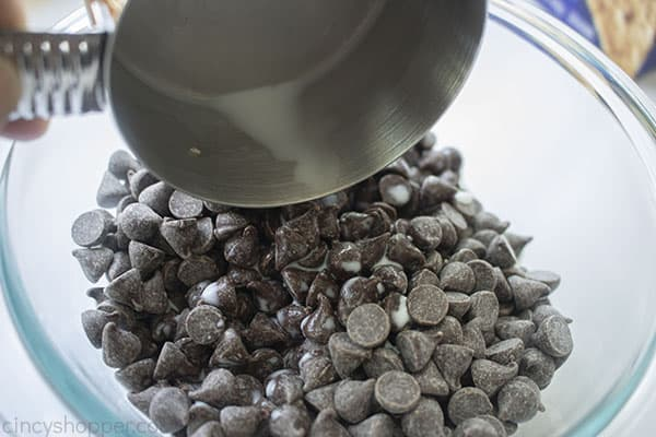 Milk added to chocolate chips in a bowl