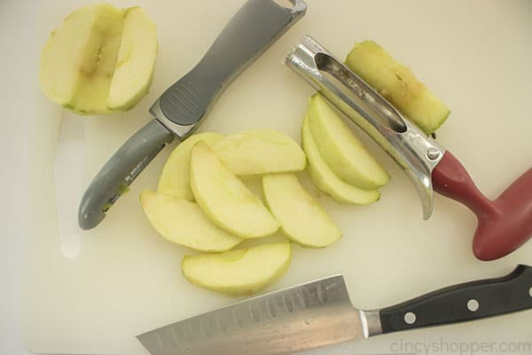 Cored, peeled and wedged apple slices