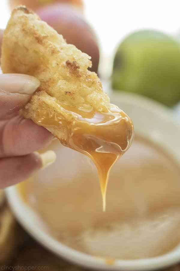 Apple Fry dipped in caramel