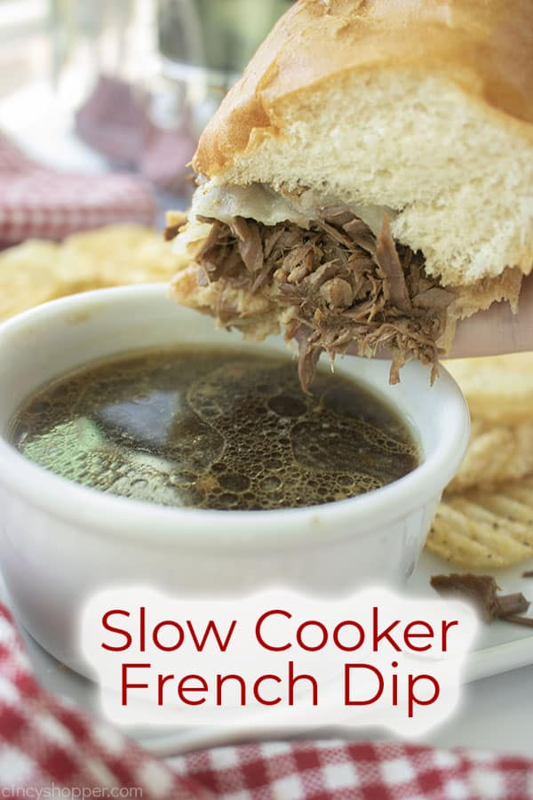 Text on image Slow Cooker French Dip