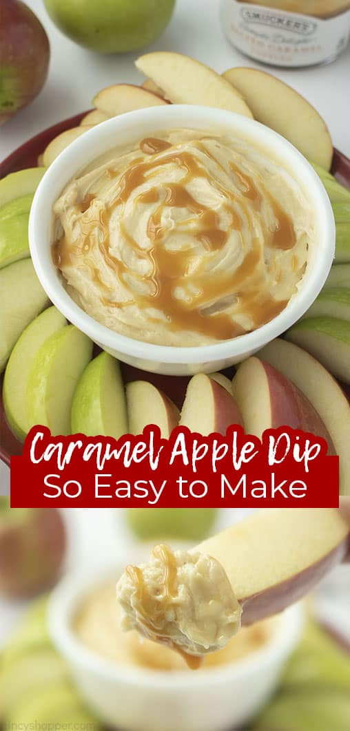 Long pin with text Caramel Apple Dip so Easy to Make