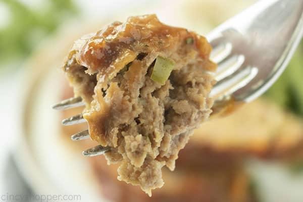 Copycat Cracker Barrel Meatloaf on a fork