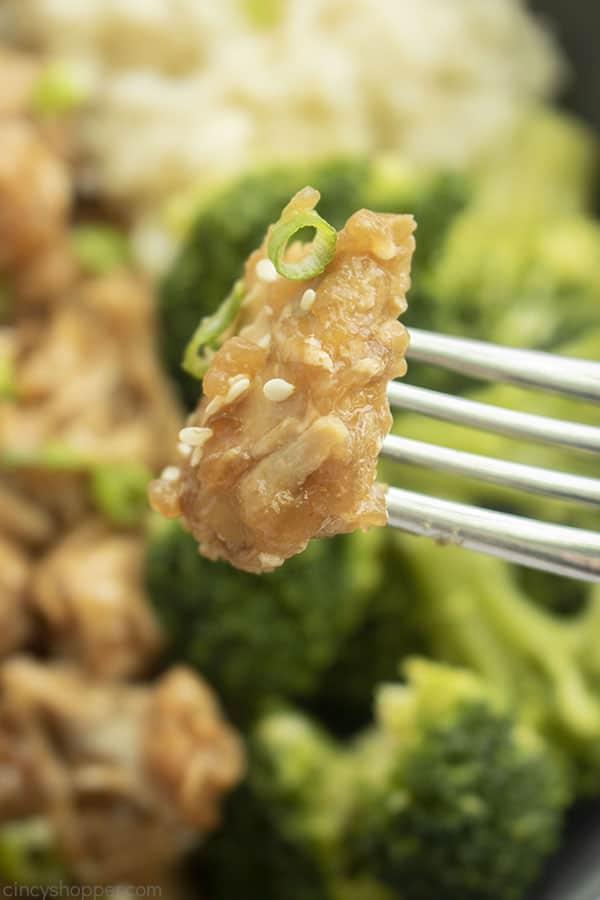 Piece of Chicken Teriyaki on a fork