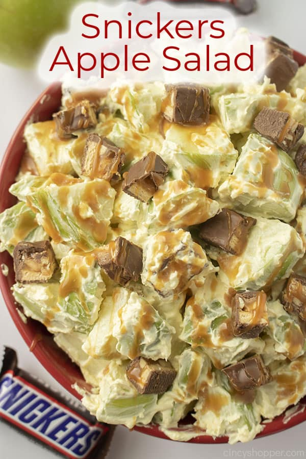 Text on image Snickers Apple Salad