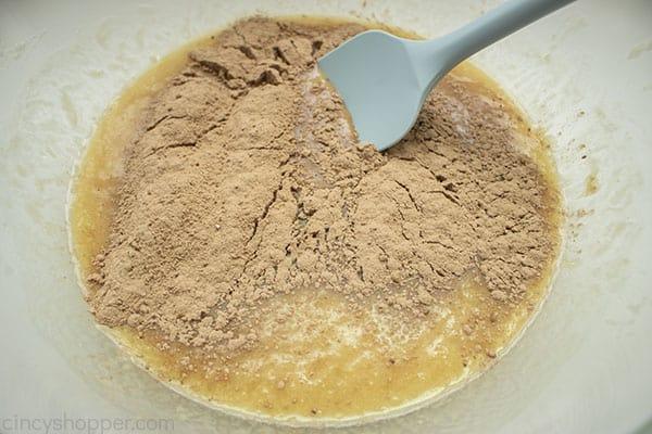 Chocolate added to banana bread mixture