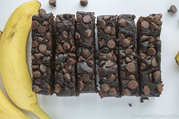Slices of banana bread with chocolate chips
