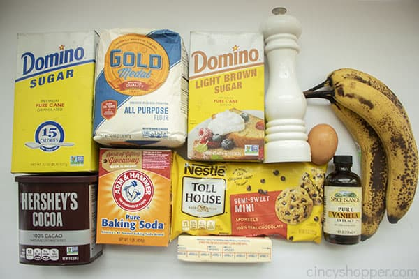 Ingredients for Choco Banana Loaf