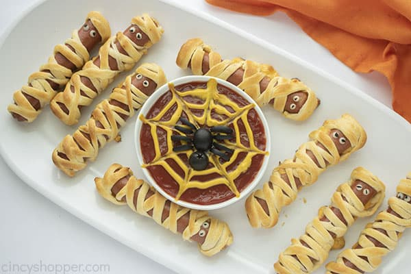 Mummy Dogs with Spider web ketchup