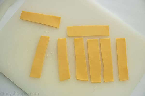 Cheese slices cut